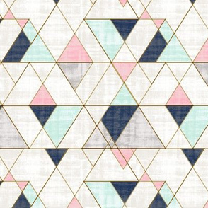 Mod Triangles M - Navy Mint Pink