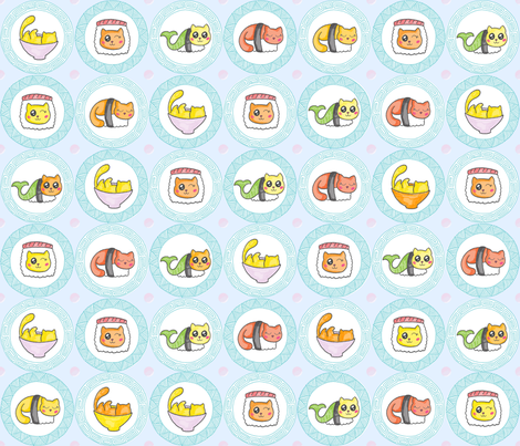 cat sushi fabric by kfay on Spoonflower - custom fabric