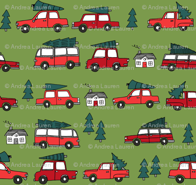 Christmas cars with christmas trees cute fabric winter holiday red_green