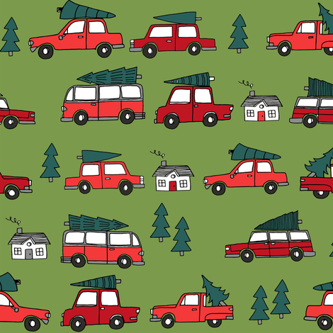 Christmas cars with christmas trees cute fabric winter holiday red_green fabric by andrea_lauren on Spoonflower - custom fabric