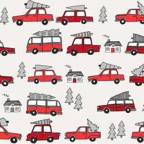 Christmas cars with christmas trees cute fabric winter holiday red_grey