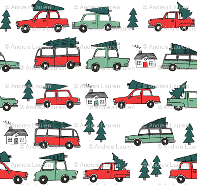 Christmas cars with christmas trees cute fabric winter holiday red_white