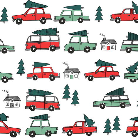 Christmas cars with christmas trees cute fabric winter holiday red_white fabric by andrea_lauren on Spoonflower - custom fabric