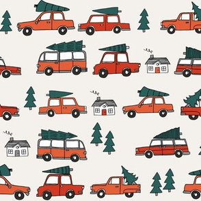 Christmas cars with christmas trees cute fabric winter holiday red