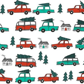 Christmas cars with christmas trees cute fabric winter holiday white