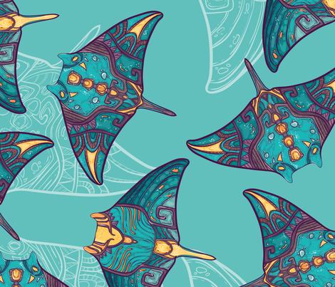 Ocean manta ray fabric by zeligen7 on Spoonflower - custom fabric