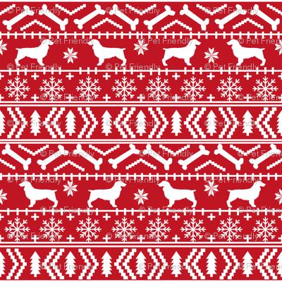 Boykin Spaniel fair isle christmas sweater fabric red