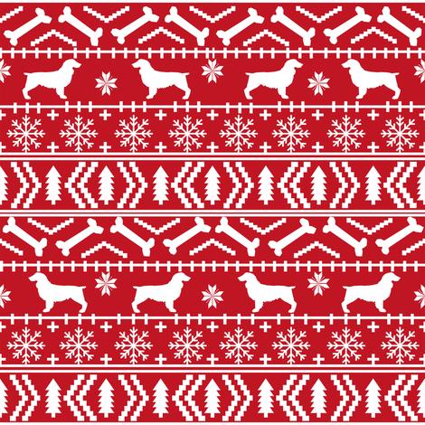 Boykin Spaniel fair isle christmas sweater fabric red fabric by petfriendly on Spoonflower - custom fabric