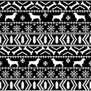 Boykin Spaniel fair isle christmas sweater fabric black and white