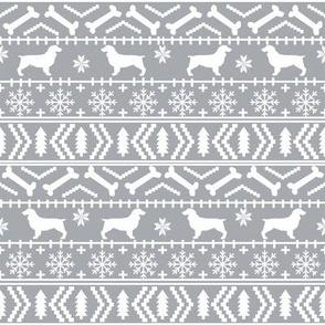 Boykin Spaniel fair isle christmas sweater fabric grey