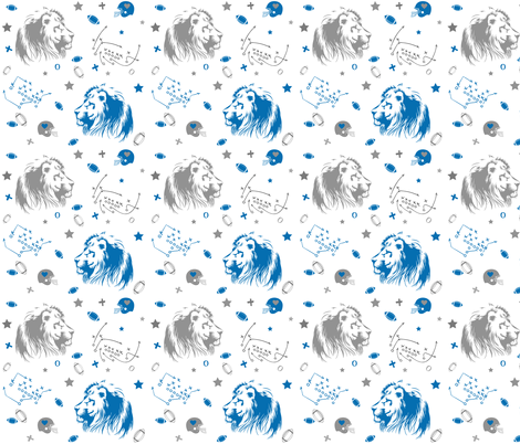 "6"" Lions / Grey & Blue fabric by shopcabin on Spoonflower - custom fabric"
