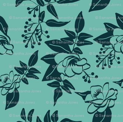Dark Blue Camellia and Jasmine on Teal