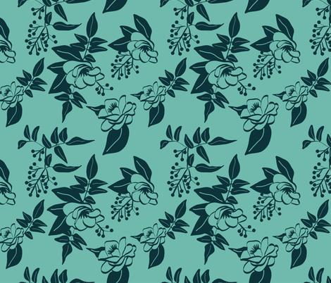 Dark Blue Camellia and Jasmine on Teal fabric by driessa on Spoonflower - custom fabric