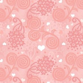 Feminine Pink Floral with Hearts