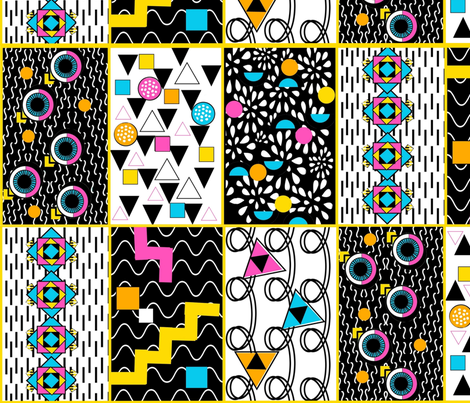 Memphis Patchwork fabric by magentarosedesigns on Spoonflower - custom fabric