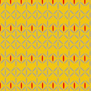 double grey diamond bars mustard yellow red