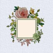 Rose Bouquet Square 1 - Light Blue