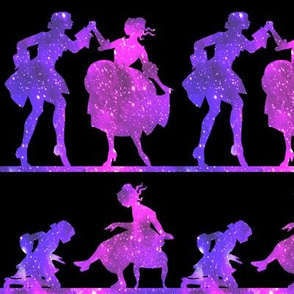 2 Cinderella fairy tales prince princess glass slippers shoes sparkles stars universe galaxy cosmic cosmos planets nebula silhouette  dancing dance ballroom palace castles watercolor effect  purple blue violet clouds