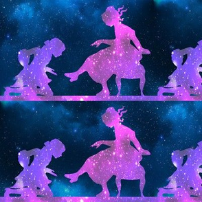 1 Cinderella fairy tales prince princess glass slippers shoes sparkles stars universe galaxy cosmic cosmos planets nebula silhouette watercolor effect  purple blue violet clouds
