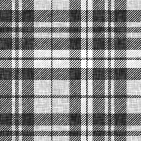 linen plaid - dark charcoal  fabric by littlearrowdesign on Spoonflower - custom fabric