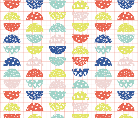 Halves in sunset grid fabric by louise_prosser_au on Spoonflower - custom fabric