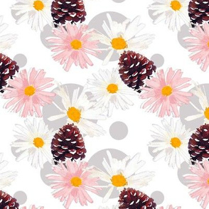 Daisies and Pine Cones White Upholstery Fabric