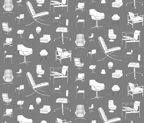 Mid-Century Chairs / Designer Furniture fabric by magnoliacollection on Spoonflower - custom fabric