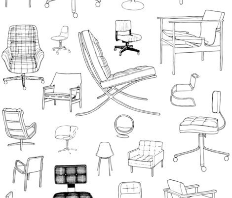 Mid-Century Chairs / Designer Retro Furniture fabric by magnoliacollection on Spoonflower - custom fabric