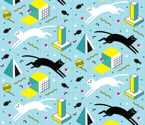 Memphis Cats in Blue fabric by pinkowlet on Spoonflower - custom fabric