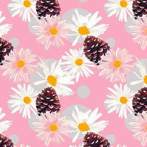 Daisies and Pine Cones Pink Upholstery Fabric