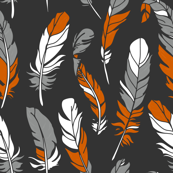 Feathers - Orange & Gray on Charcoal
