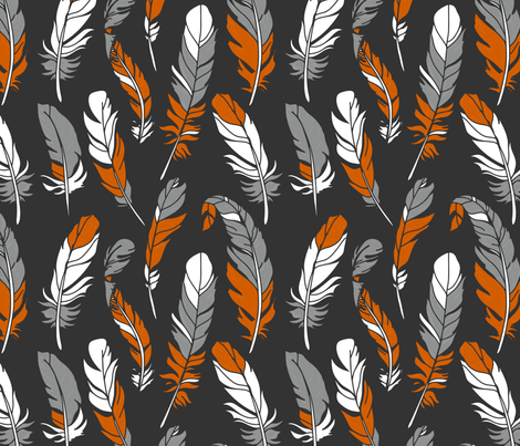Feathers - Orange & Gray on Charcoal fabric by sweeterthanhoney on Spoonflower - custom fabric