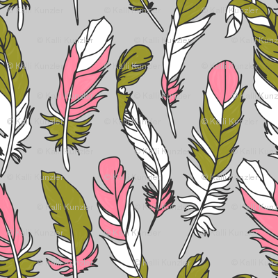Feathers - Pink & Green on Gray