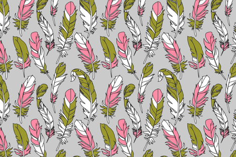 Feathers - Pink & Green on Gray fabric by sweeterthanhoney on Spoonflower - custom fabric
