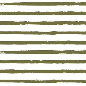 Distressed Green Stripes on White