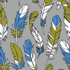 Feathers - Green & Blue on Gray