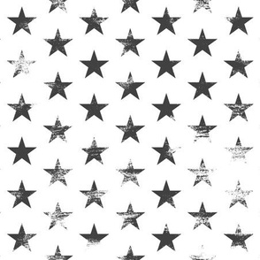 Distressed Charcoal Stars on White (Grunge Painted Vintage 4th of July American Flag Stars)