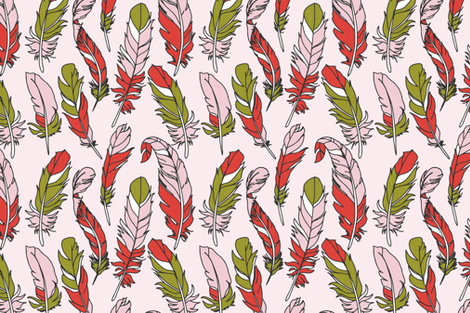 Feathers - Green & Pink on Pink fabric by sweeterthanhoney on Spoonflower - custom fabric