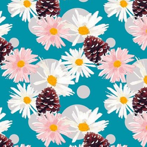 Daisies and Pine Cones Turquoise Upholstery Fabric