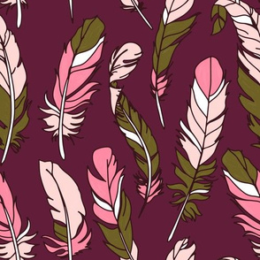 Feathers - Pink & Green on Plum