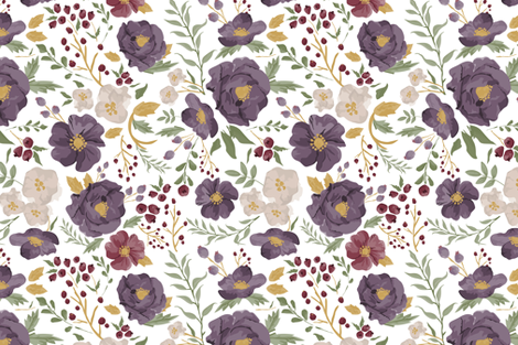 Saturated Autumn Meadow Fall Floral fabric by sweeterthanhoney on Spoonflower - custom fabric