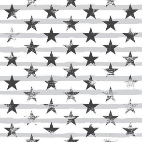 Distressed Charcoal Stars on Light Gray Stripes (Grunge Painted Vintage Distressed 4th of July American Flag Stripes)