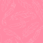 Feather Outline - Bright Pink