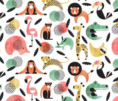 memphis style jungle animals fabric by cjldesigns on Spoonflower - custom fabric