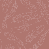 Feather Outline - Dusty Rose