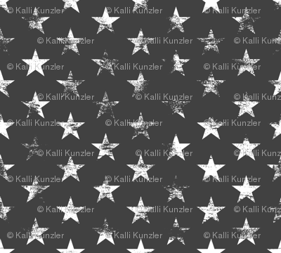 Distressed White Stars on Charcoal (Grunge Vintage 4th of July American Flag Stars)