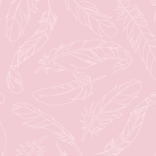 Feather Outline Scattered - Soft Pink