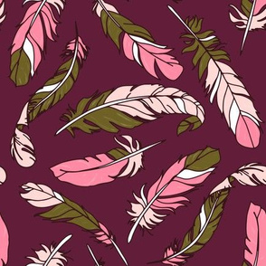 Feathers Scattered - Pink & Green on Plum