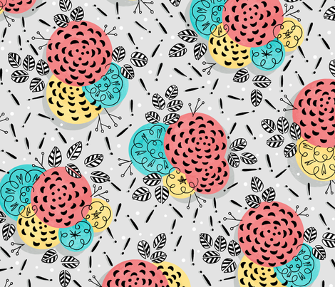 Rainy Day Floral! fabric by lauraflorencedesign on Spoonflower - custom fabric