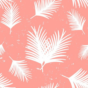 White Tropical Palm Leaves on Coral